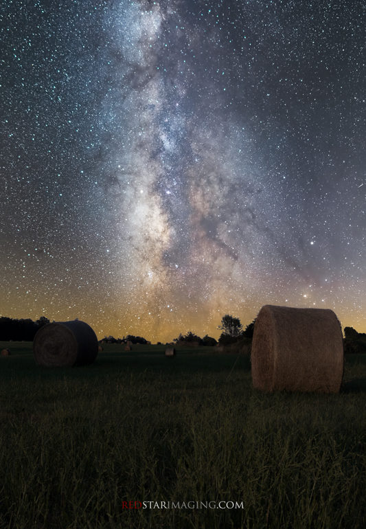 Hay field with Milky Way